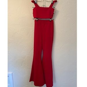 Nastygal Two Piece Red Flare Set